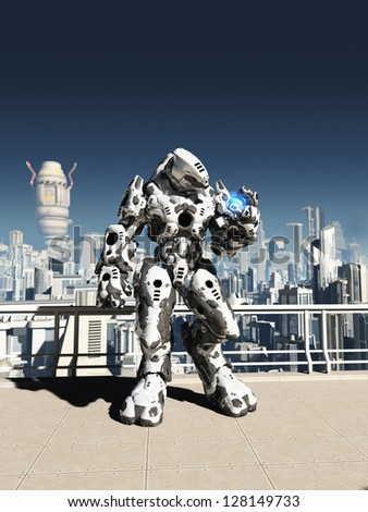 Futuristic science fiction battle droid guarding the streets of a futuristic city, 3d digitally rendered illustration - stock photo