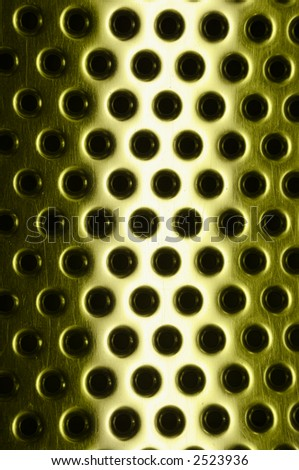 Futuristic scratched metallic background with the light stripe - stock photo