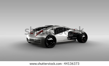 Futuristic silver concept sports car isolated in studio - stock photo