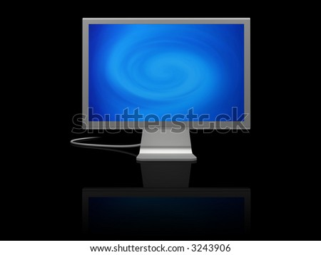 futuristic silver monitor on black with reflection displaying blue abstract twirl of light - stock photo