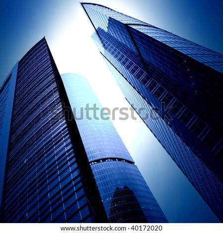 futuristic skyscrapers of downtown - stock photo