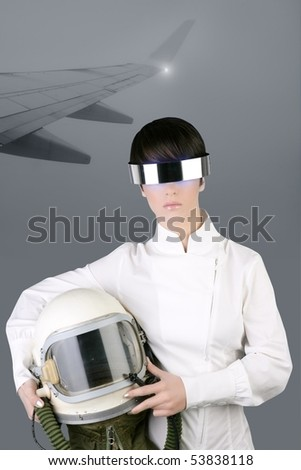 futuristic spaceship aircraft astronaut helmet woman foggy airplane wing [Photo Illustration] - stock photo