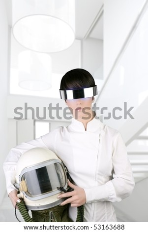 futuristic spaceship aircraft astronaut helmet woman modern white house interior [Photo Illustration] - stock photo