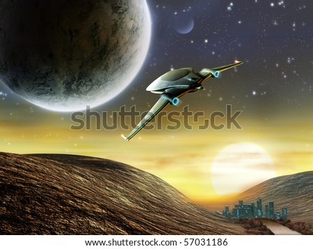 Futuristic spaceship traveling in a distant solar system. Digital illustration - stock photo