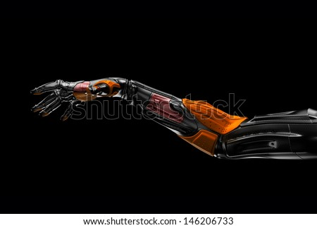 Futuristic stylish arm/ Artificial prosthetic robotic hand on black. 3ds max render - stock photo