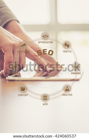 Futuristic Technology Concept: SEO chart with icons and keywords - stock photo
