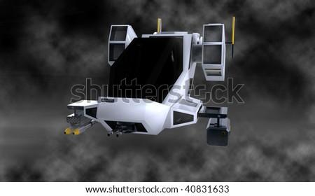 futuristic transforming scifi robot and spaceship in smoke filled studio - stock photo