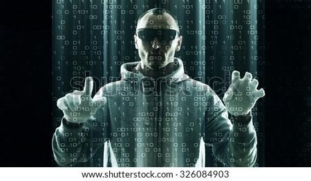 Futuristic vr glasses in hacker use - stock photo