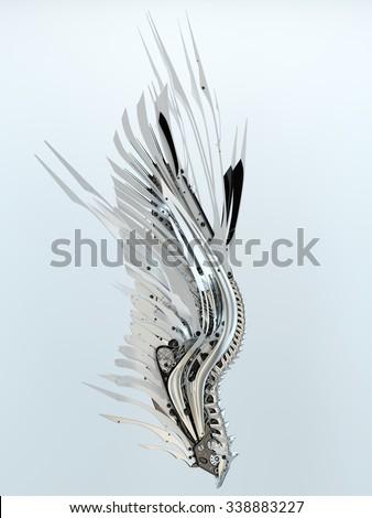 Futuristic white robotic wing - stock photo