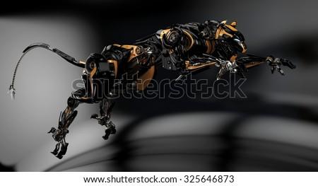 Futuristing hunting panther unit. Dark studio shot / Jumping cyber panther - stock photo