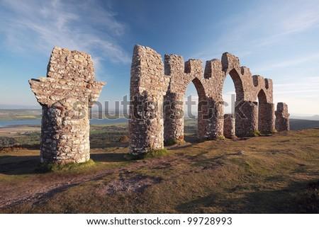 Fyrish monument from fyrish hill, evanton, Scotland - stock photo