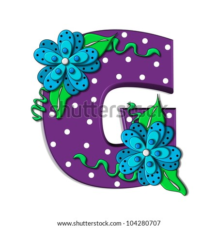 """G, in the alphabet set """"Clinging Vine"""", is decorated with mod flowers in three layers.  Letters are purple and vines and leaves are mint green. - stock photo"""
