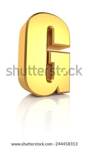 G letter. Gold metal letter on reflective floor. White background. 3d render - stock photo