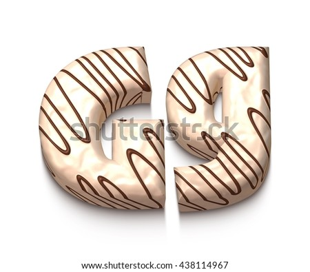 G letter of white chocolate with brown cream in 3d rendered on white background. - stock photo