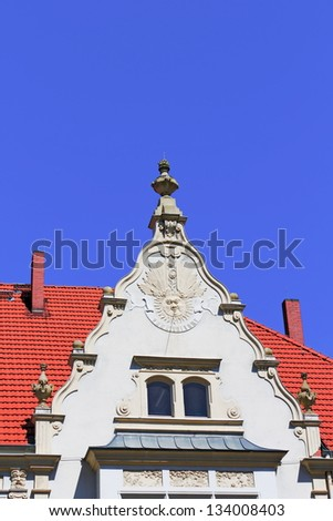 Gable with relief - stock photo