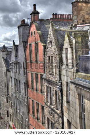 Gables and roofs of historical houses in Edinburgh, Scotland, UK - stock photo