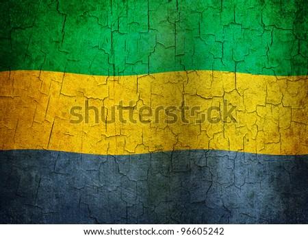 Gabon flag on a cracked grunge background - stock photo