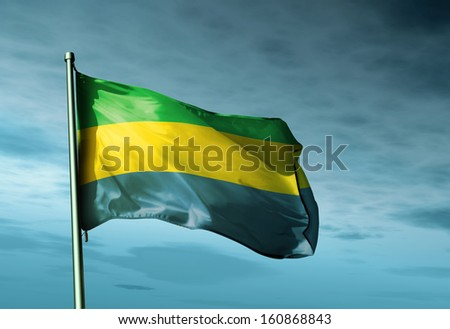 Gabon flag waving in the evening - stock photo