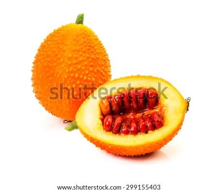 Gac fruit isolated on white background - stock photo