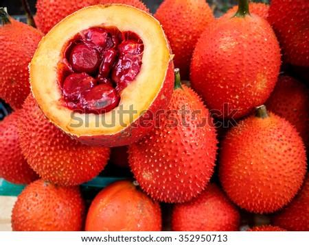 Gac Fruit Or Baby Jackfruit, Cochinchin Gourd, Spiny Bitter Gourd, Sweet Gourd (Momordica cochinchinensis) - stock photo