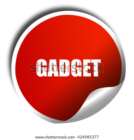 gadget, 3D rendering, red sticker with white text - stock photo
