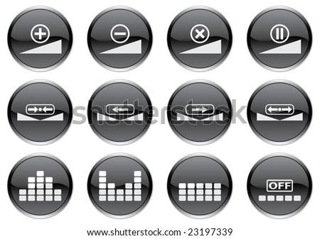 Gadget icons set. White - black palette. Raster illustration. - stock photo