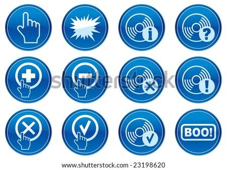Gadget icons set. White - dark blue palette. Raster illustration. - stock photo