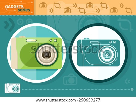 Gadgets series with two digital cameras in circle frames color and colorless variant on green with devices silhouettes background. Raster version - stock photo