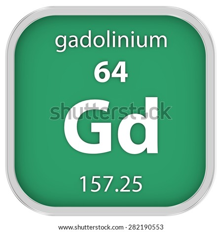 Gadolinium material on the periodic table. Part of a series. - stock photo