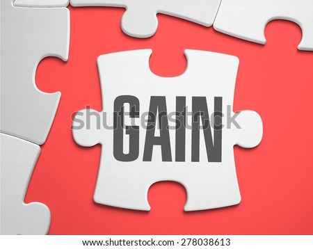 Gain - Text on Puzzle on the Place of Missing Pieces. Scarlett Background. Close-up. 3d Illustration. - stock photo