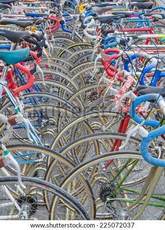 GAIOLE IN CHIANTI, ITALY - 4 OCT. 2014: Vintage bicycles nicely parked before the start of L'Eroica, an event for vintage bicycles woners who ride through the province of Tuscany on white gravel roads - stock photo