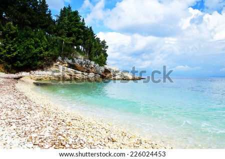 Gaios beach on Paxos island Greece. - stock photo