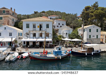 Gaios port at Paxos island in Greece. Ionian sea - stock photo