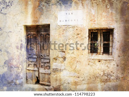 Gairo Vecchio, a village destroyed by a flood, Sardinia, Italy - stylized picture with patina texture - stock photo