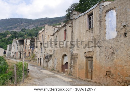 Gairo Vecchio - lonely village destroyed by a flood, Sardinia, Italy - stock photo