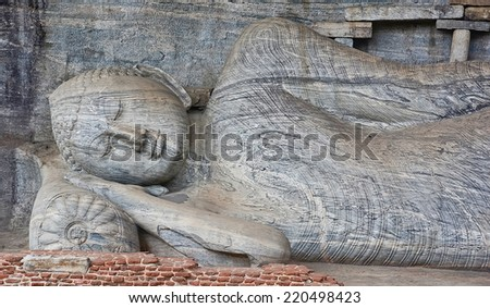 Gal Vihara, 12th Century Rock Temple Of The Buddha Situated In The Ancient City Of Polonnaruwa - stock photo