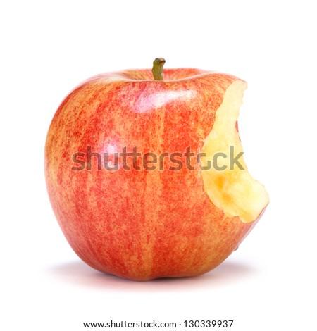gala apple with bite - stock photo