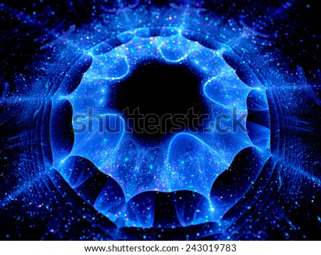 Galactic layers in space, computer generated abstract background - stock photo