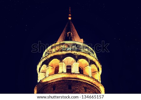 Galata Tower from Istanbul, Turkey - stock photo