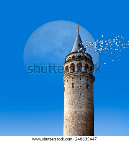 "Galata tower, istanbul Turkey ""Elements of this image furnished by NASA ""  - stock photo"