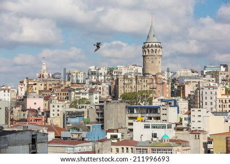 Galata tower & rooftops, Istanbul Turkey - stock photo