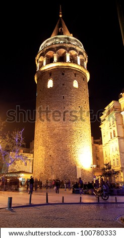 Galata Towers at the Istanbul Turkey 1 - stock photo