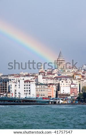 Galatatower with rainbow - stock photo