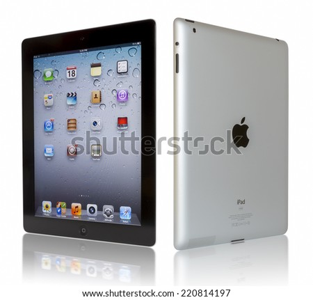 Galati, Romania- August 20, 2012: iPad 3 Wi-Fi + 4G with iOS 5.1 by Apple Inc, the third generation iPad was released for sale by Apple Inc on March 16, 2012.  - stock photo