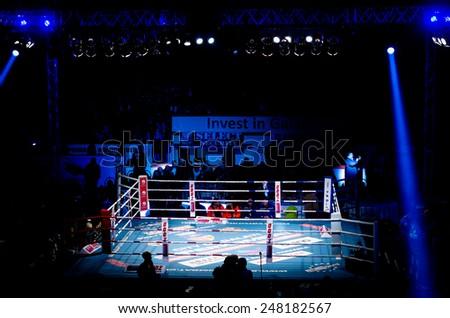 GALATI, ROMANIA - DECEMBER 21: Empty fighting ring at Superkombat World Grand Prix finals, on December 21, Galati Romania - stock photo