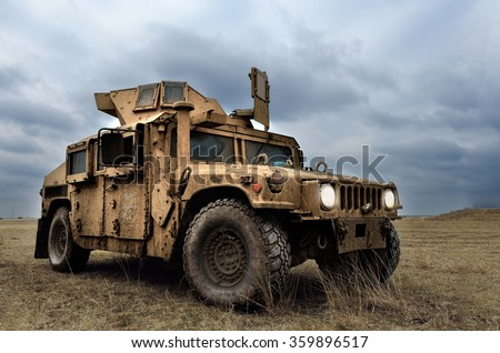 GALATI, ROMANIA - DECEMBER 11:Fighting machine in Romanian military polygon in the exercise PLATINUM LYNX 16 on Galati, Romania, 11 december 2015. - stock photo
