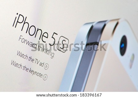 Galati, Romania - February 14: Photo of Apple homepage on a monitor screen, on 14 February, 2014, in Galati, Romania - stock photo