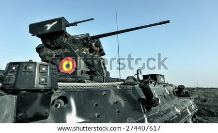 "GALATI, ROMANIA - MARCH 24: MLI 84 ""Jder"" fighting machine in Romanian military polygon in the exercise Smardan Saber Junction 15 on Galati, Romania, 24 march 2015. - stock photo"
