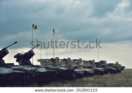 GALATI, ROMANIA - OCTOBER 8:Fighting machine in Romanian military polygon in the exercise Smardan Danube Express 14 on Galati, Romania, 8 october 2014. - stock photo
