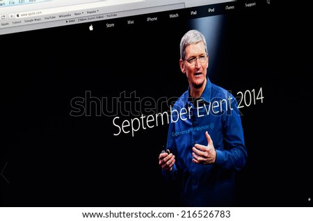 Galati, Romania - September 11: Photo of Apple homepage on a monitor screen, on 11 September, 2014, in Galati, Romania - stock photo